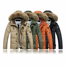 Men Coat Jacket Warm Duck Down Winter Outwear Fur Collar Thick Hooded Parka Down