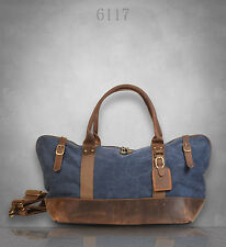 NEW unisex Vintage Canvas Genuine Leather Duffel Holdall Shoulder Bag Large Tote