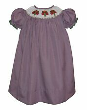 SMOCKED PURPLE GINGHAM TURKEY THANKSGIVING DRESS  2T 3T 4T NEW!!!
