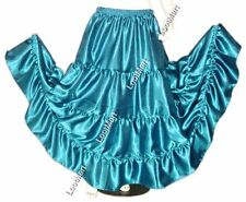Belly Dance Teal Satin 4 Tier Gypsy Skirt Costume Tribal Ruffle Jupe 27 Colors