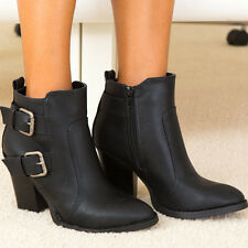 Edge Chic Styling Distressed Pewter Buckles Accent Ankle Boots Booties Black
