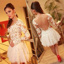 Long Sleeve Skater Dress Party Cocktail Backless Lace Flower Knee Length Fashion
