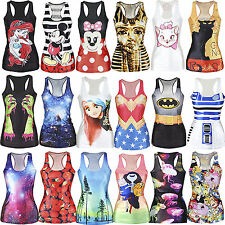 Sexy Women Graphic Print Gothic Top Fancy Dress Vest Tank Party Clubwear Blouse