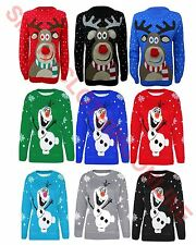 CHILDRENS KIDS BOYS GIRLS 3D FROZEN OLAF REINDEER CHRISTMAS JUMPER 3-12 YEARS