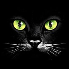 Black Cat Face Green Eyes Long Sleeve T-Shirt Sizes S-3XL Cute Kitty Tee