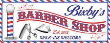 Retro Barber Shop Personalized Sign with Barber Pole, Comb & Scissors C1263