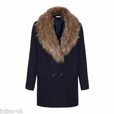NEW LADIES A WEAR NAVY FAUX FUR COLLAR TEXTURED WINTER COAT SIZE 6 - 18