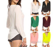 Sexy Lady V Collar Long Sleeved Chiffon Blouse Zipper Candy Colored Shirt Tops