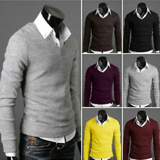 New Tops Mens Casual Slim Fit V-neck Knitted Pullover Jumper Sweater Cardigan