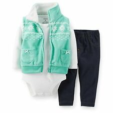 Carters Baby Girl 3-Pc Fleece Vest Set Outfit Clothes 3 6 9 12 18 24Months NWT