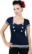 ROCK STEADY Pin Up Girl PILOT Navy Blue Blouse Jersey Top S-3X NWT FREE Shipping
