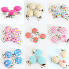 4Pcs Lead Free Round With Fabric Suspender Clips Plastic Insert Pacifier Holder