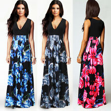 Top Design Deep V Neck Black Slim Fit Boho Hippie Summer Maxi Long Dress SZ 6-20