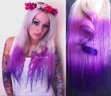 Blonde Pink Purple Ombre Balayage Dip Dye Clip In REAL Human Hair Extensions 20""