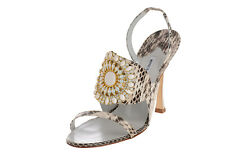 $1445 New MANOLO BLAHNIK RONDANYJeweled EXOTIC  Python SANDALS SHOES Heels 35.5