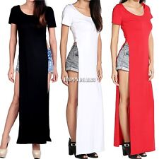 Women Sexy Casual Side High Slits bm Tee Long Top Maxi Dress T-shirt Tops Blouse