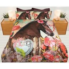 Brown Horse Pony Teen Girls Quilt Doona Cover Set - Single Double Queen 225TC