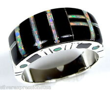 Black Onyx & White Fire Opal Inlay 925 Sterling Silver Men's Ring Sizes 9 - 13