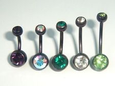 1.6mm x 6 - 14mm DOUBLE CRYSTAL JEWELLED CURVED DARK PURPLE TITANIUM BELLY BAR