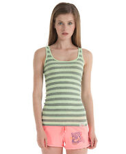 New Womens Superdry Orange Sewn Fluro Stripe Tank Top Fluro Green AC
