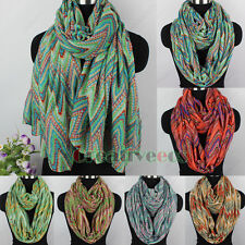 Vintage Multi-color Chevron Zig Zag Long Scarf/ Infinity 2Loop Cowl Circle Scarf