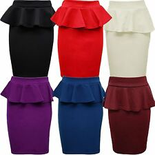 New Womens Plus Size Peplum Skirt Bodycon Pencil Skirts 8-22