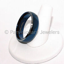 Tungsten Carbide Ring Wedding Band 8mm Polished Blue IP Dome Bevel Edge