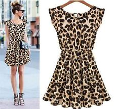 Women Fashion Sexy Leopard Casual Evening Cocktail Party Mini Dress Summer Dres