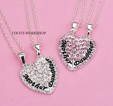 MOTHER DAUGHTER CRYSTAL HEART 2in1 PENDANT NECKLACE SET GIFT MOTHER'S DAY XMAS