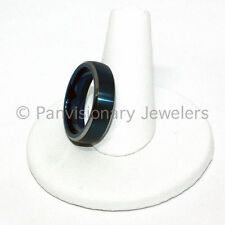 Tungsten Carbide Ring Blue IP Satin Dome Natural Bevel Edge 6mm Wedding Band