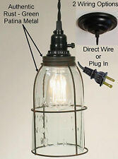 Mason Jar Swag Lamp Vintage Rustic Industrial Hanging Pendant Light Glass Shade