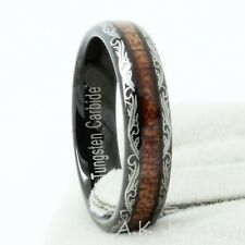 Fashion Mens Women Laser Black Tungsten Carbide Ring Inlay Real Wood SIZE 8-13