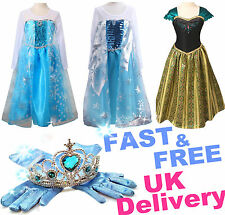 UK Girls Frozen Princess Elsa Anna Queen Cosplay Costume Party Fancy Dress