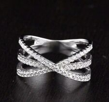 Womens Solid 925 Sterling Silver X Criss Cross CZ Micro Pave Sparkle New Ring