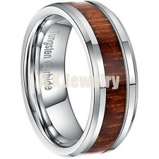 8mm Tungsten Carbide Genuine Acacia Wood Mens Wedding Band Ring Brown SZ 7-13