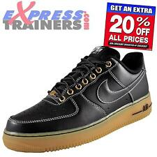 Nike Mens Air Force 1 Low Classic Leather Trainers Black Gum * AUTHENTIC *