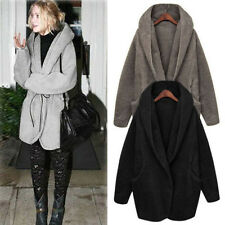 New Arrival Women Loose Winter Fluffy Fleece Fur Coat Hoodies Sweater Poncho fit