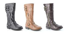 Anna Girl's Dress Up Fashion Flat Heel Knee High Riding Boots Faux Leather Shoes