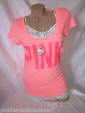 Nwt Victorias Secret BRIGHT HOT CORAL Neon ADD SUNTAN T Shirt Top XS Love PiNK