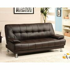 Beaumont Dark Brown Leatherette Futon Sofa Bed For Living Room Furniture Couch