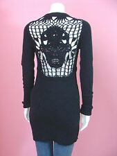 Betsey Johnson Black Skull Crochet Black Tunic Sweater Intarsia Knit Dress RARE