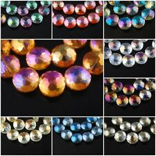 Lampwork Faceted Glass Crystal Flying Saucer Beads Craft Jewelry Charms 14x7mm