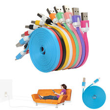 For iPhone 5 5S 5C 3FT 1M Flat Noodle 8 Pin to USB Sync Data Charger Cable Cord