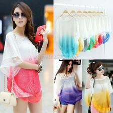 Gradient Color Blouse Women Batwing Short Sleeve Hollow Out Shirt Pullover Tops