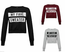 Womens My Fave Printed Jumper Cropped Winter Sweater Ladies Warm Cute Casual Top
