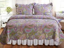 Paisley Quilt Set Purple Pink Green Reversible 100% Cotton Twin Full Queen King