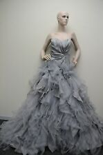 $13,890  New Oscar de la Renta Light Grey Organza Ball Gown EVENING DRESS 10