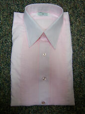 Vintage Pink Tuxedo Shirt with Detachable Pink Ruffle Options