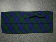 NEW Vintage Blue-Green Plaid Formal Cummerbund and Bowtie Set-one size fits most