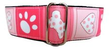 """1.5"""" Wide Pink Bones Paws & Hearts! Fancy Martingale Dog Collar, 3 Sizes!"""